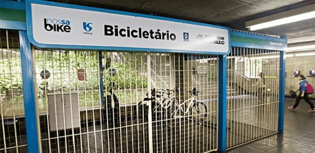 Bicicletário na estação Santa Cecília, no centro de SP