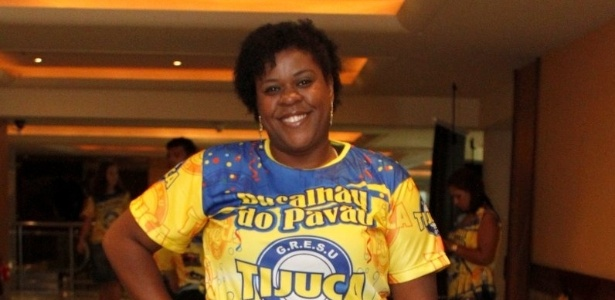 13.jan.2013 - Cacau Protásio participa de bacalhoada da Unidos da Tijuca, no Rio de Janeiro