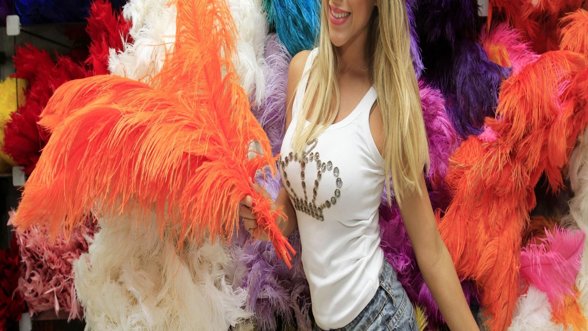 21.jan.2013 Ana Paula Minerato, musa da Gaviões da Fiel, visitou uma loja de artigos carnavalescos