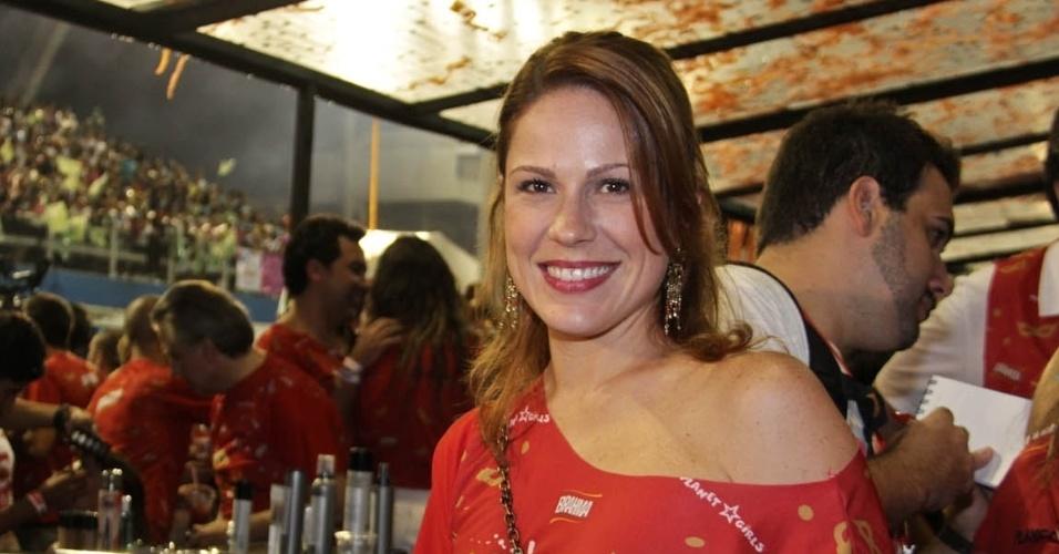 08.fev.2013 - A atriz Mariana Hein, sorri para as fotos no Camarote Brahma em São Paulo