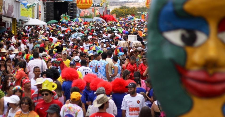 10.fev.2013 - Foliões desfilam no bloco dos Papangus, em Bezerros (PE), a cerca de 100 quilômetros de Recife. Os papangus são personagens carnavalescos célebres por usarem máscaras que cobrem toda a face, com orifícios nos olhos, boca e nariz, chamadas caftas