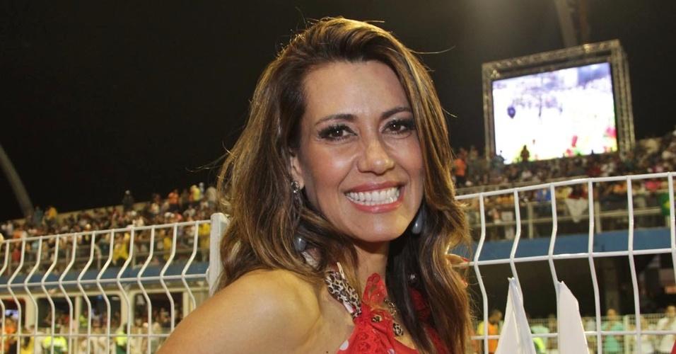 10.fev.2013 - Solange Frazão  se prepara para curtir o Carnaval paulista no Camarote Brahma, no Sambódromo do Anhembi em São Paulo