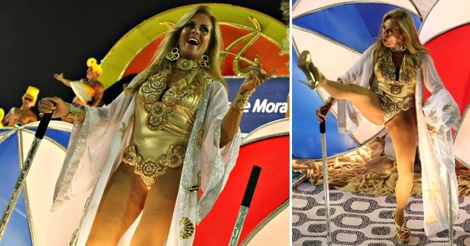 """11.fev.2013 - Montagem com imagens de Helô Pinheiros, a musa inspiradora de """"Garota de Ipanema"""", no desfile da união da Ilha"""