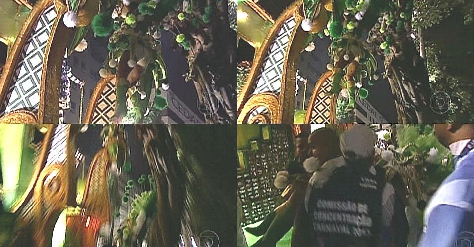 11.fev.2013 Destaque de carro alegórico da Portela caiu de um carro alegórico, após bater em uma árvore na concentração. A integrante se desequilibrou, segurou na árvore, se soltou e caiu no colo de integrantes da escola e do corpo de bombeiros