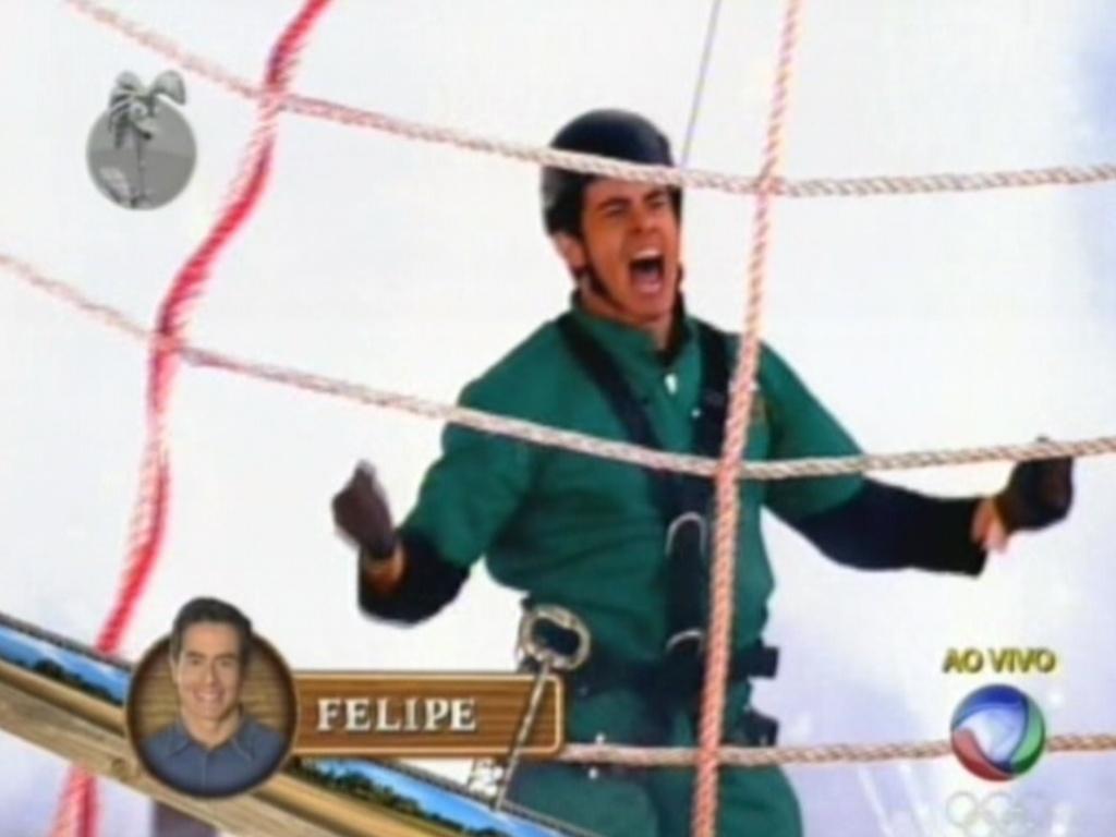 Felipe Folgosi comemora vitória em prova que mandou seis pessoas para o celeiro (10/6/12)
