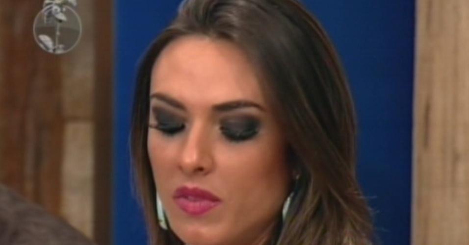 Nicole Bahls é um dos peões que está na roça, junto com Felipe Folgosi e Sylvinho Blau Blau (19/6/12)