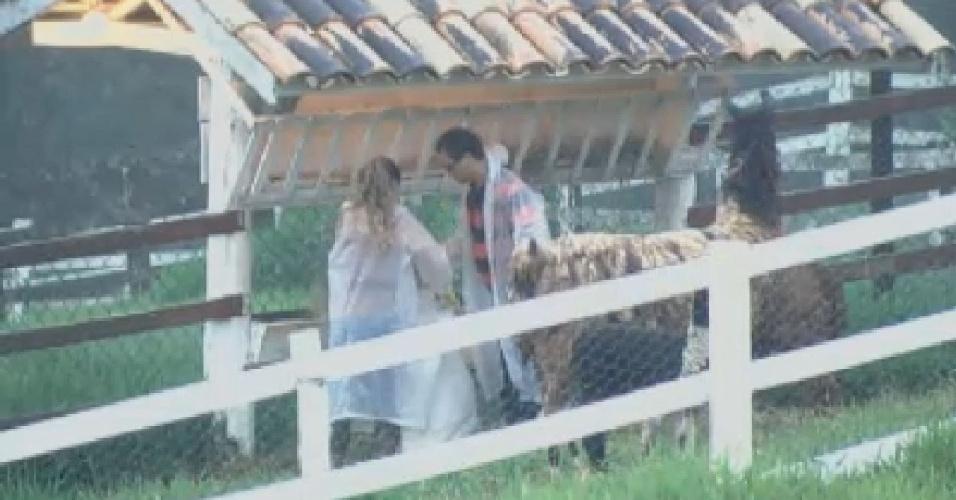 Viviane Araújo e Sylvinho Blau-Blau cuidam das lhamas (20/6/12)