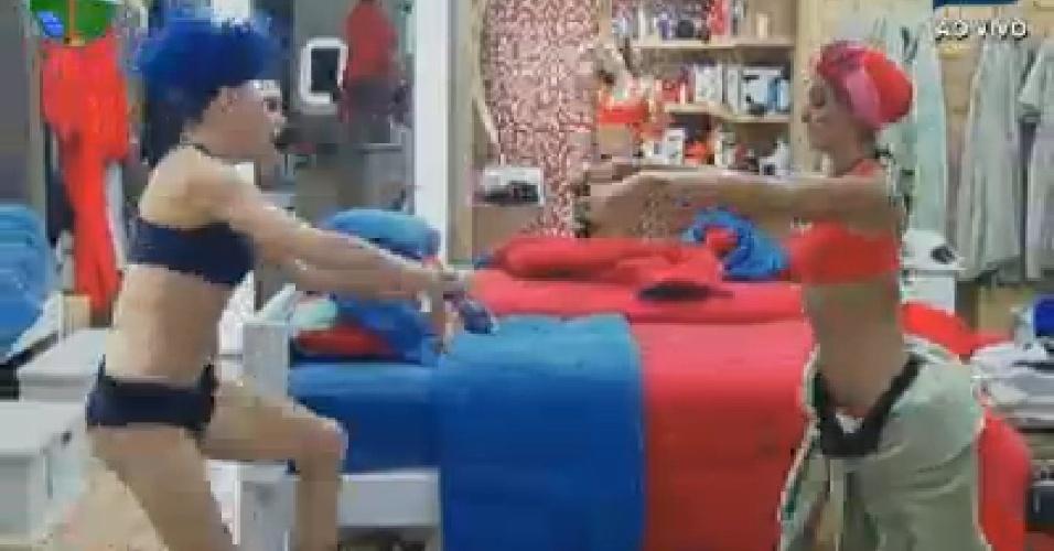 Vestidos para atividade, Léo Áquilla e Robertha Portella dançam no quarto (23/6/12)