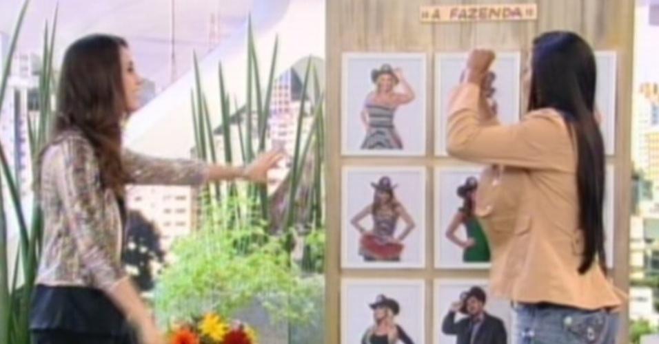 Shayene Cesário marca Diego Pombo durante programa (29/6/12)