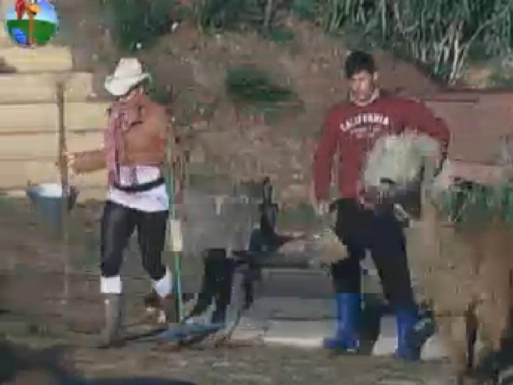 Ângela Bismarchi e Diego POmbo são seguidos por lhama ao deixar o celeiro (14/7/12)