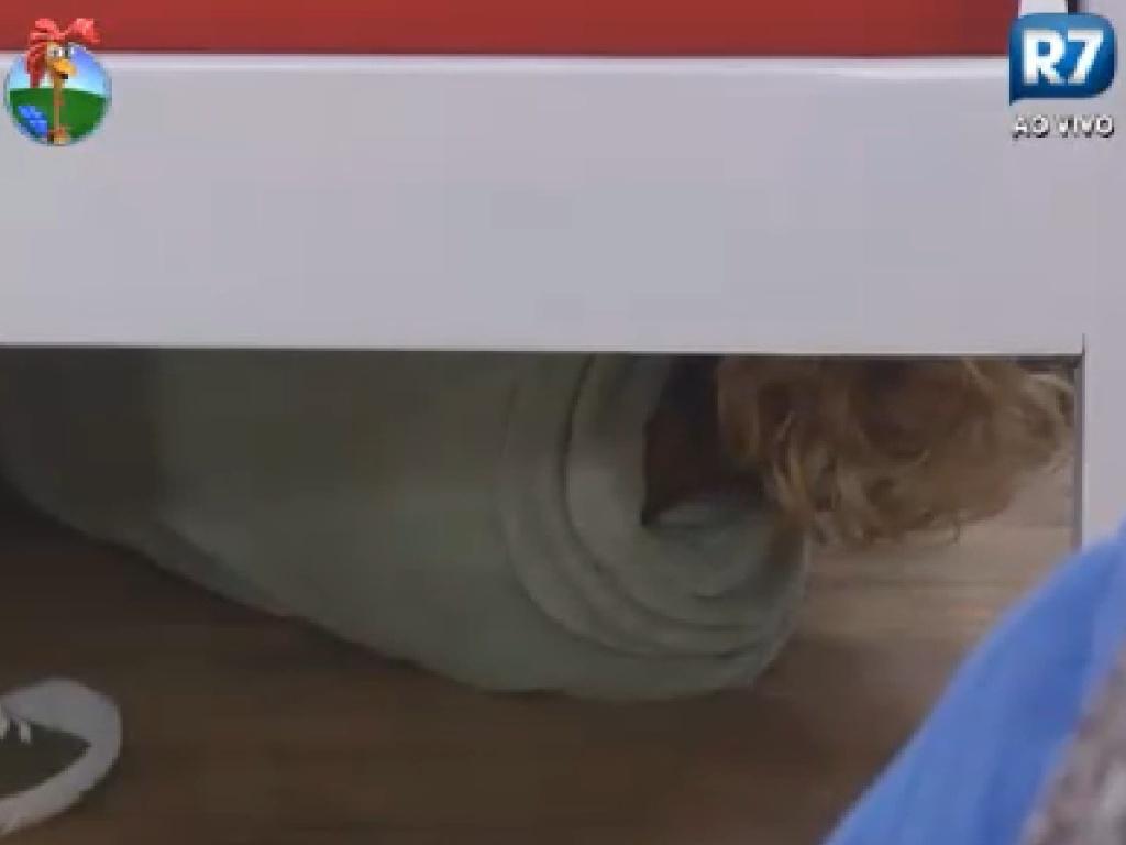 Léo Áquilla se esconde embaixo da cama para pregar peça nos colegas de confinamento (14/7/12)