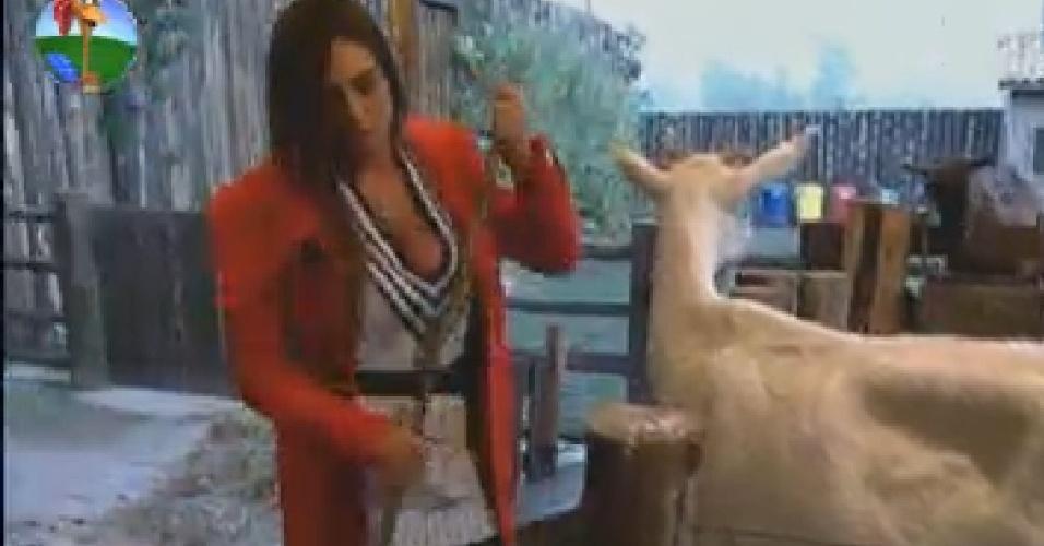 Nicole Bahls cuida das cabras na manhã desta sexta-feira (20)
