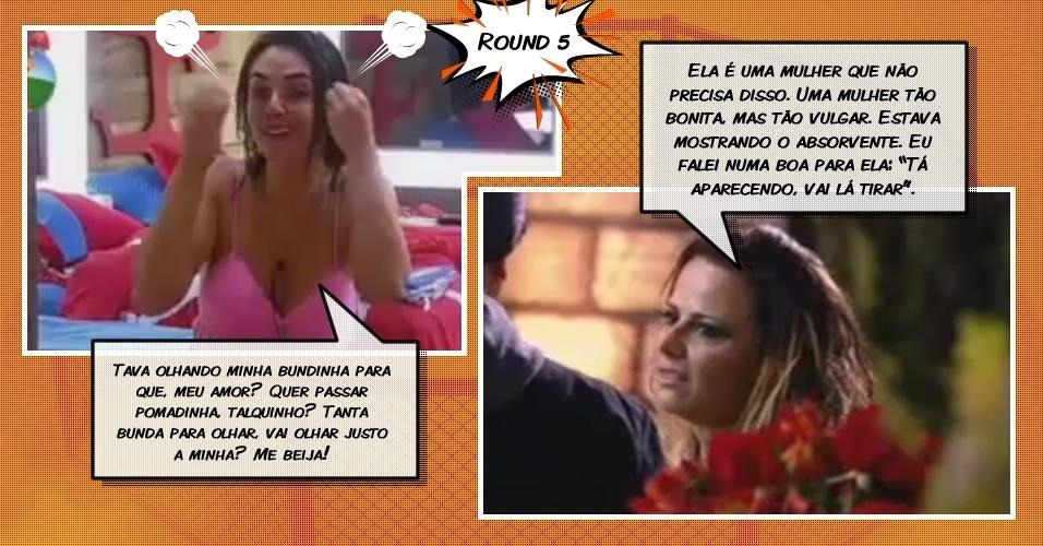 Round 5: Viviane comenta  sobre absorvente de Nicole, que se irrita com a rival