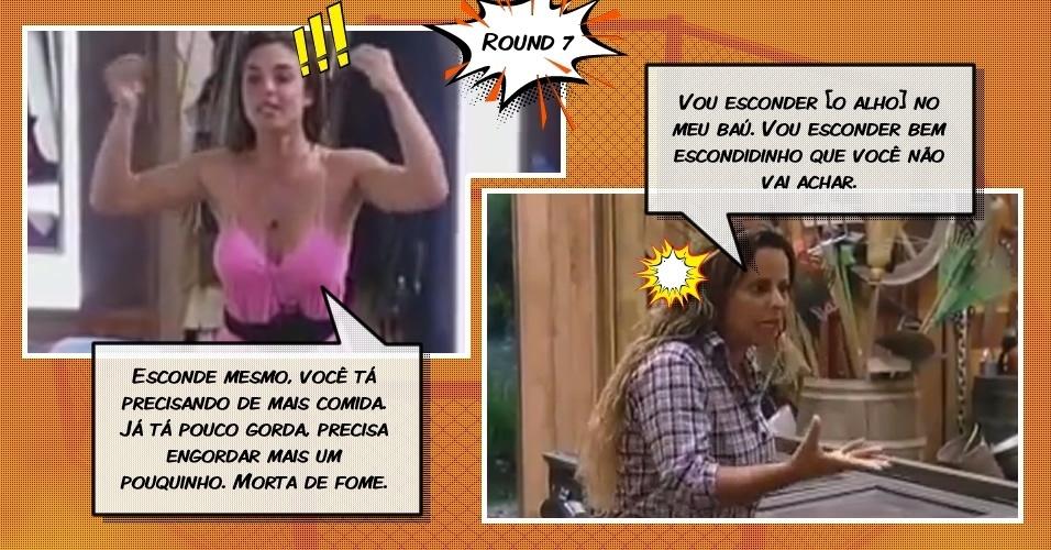 Round 7: Nicole Bahls e Viviane Araújo brigam por causa de uma cabeça de alho
