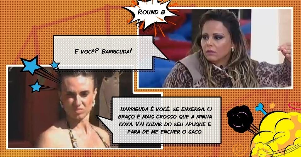 Round 8: Uma cabeça de alho é o motivo de briga ente Nicole Bahls e Viviane Araújo