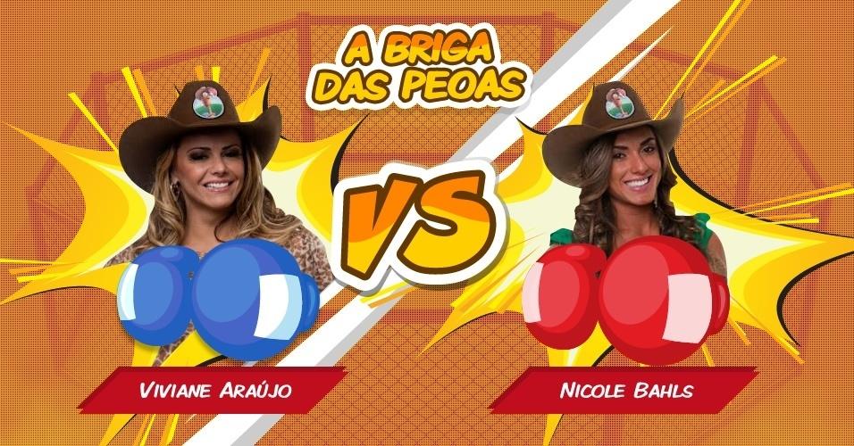 "Viviane Araújo (esq.) enfrenta Nicole Bahls (dir.) em ""A Fazenda 5"""