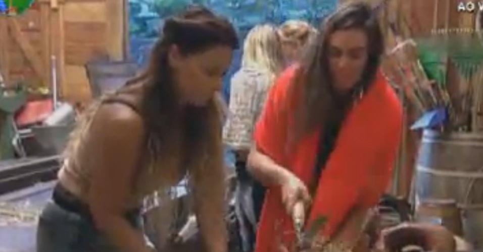 Viviane Araújo ajuda Nicole Bahls a cortar feno (2/8/12)