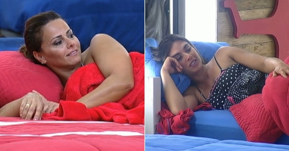 Viviane Araújo (esq.) e Nicole Bahls (dir.) conversam descontraídas sobre prêmios que ganharam no reality (7/8/12)