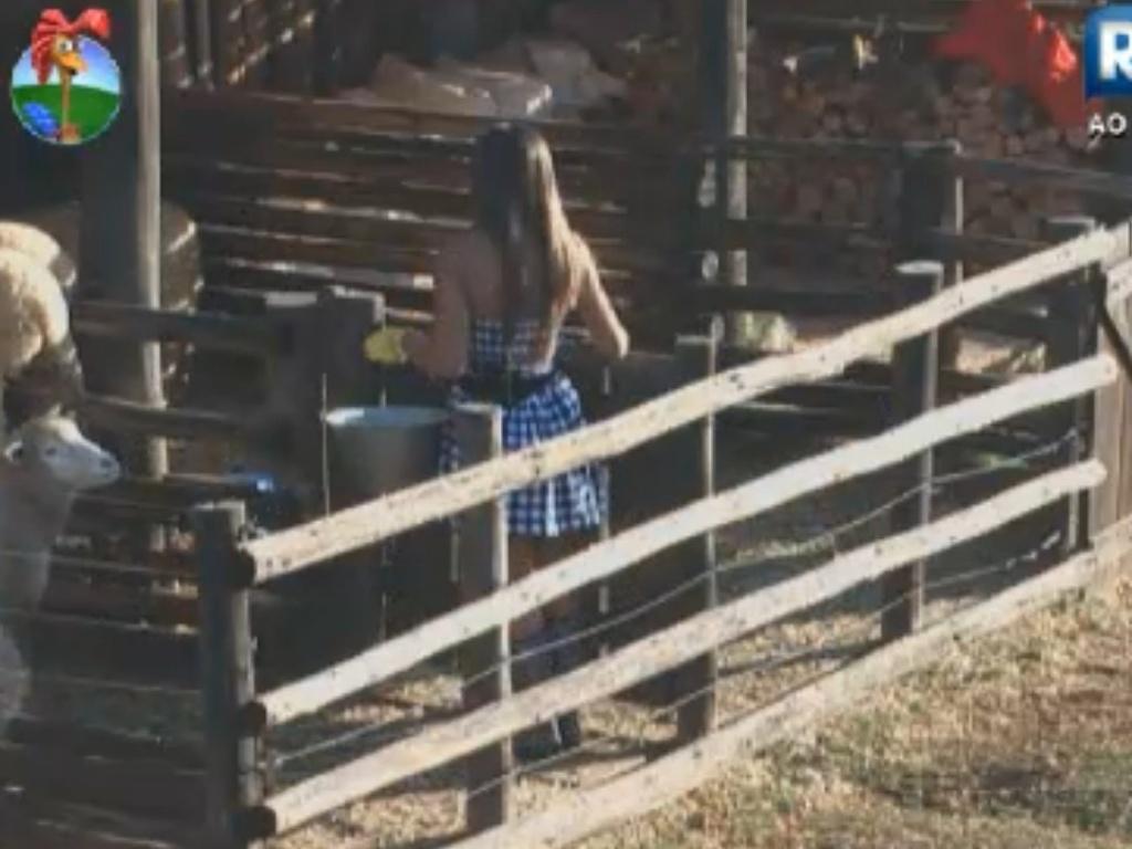 Nicole Bahls repreende Viviane Araújo na tarefa com as cabras (9/8/12)