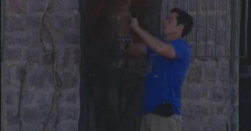 O ator Felipe Folgosi cuida dos cavalos na manhã deste domingo (12/8/12)