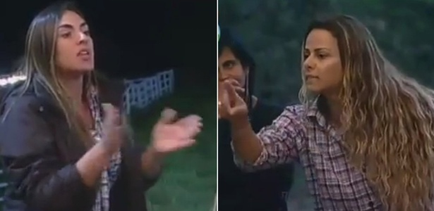 Nicole Bahls (esq.) e Viviane Araújo (dir.) discutem no celeiro por causa do horário de acordar (16/7/12)