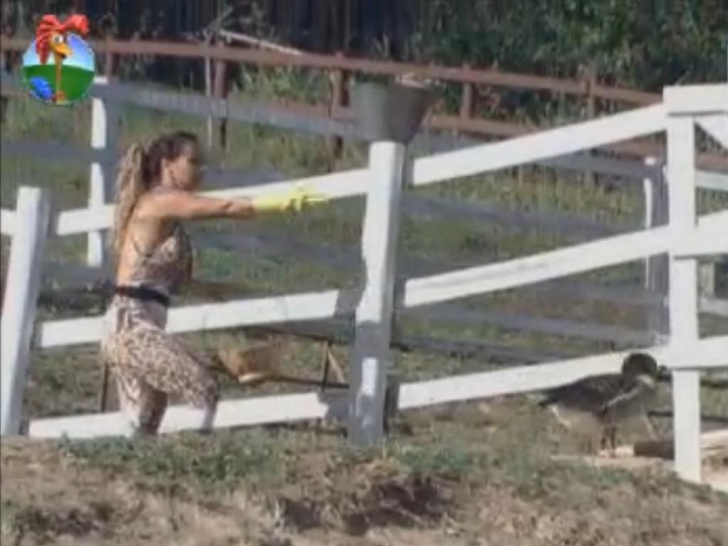 Viviane Araújo leva pato de volta para a área das aves (21/8/12)