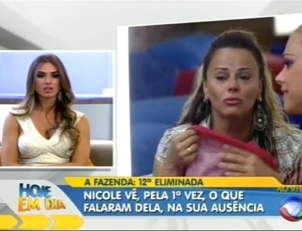 """Nicole Bahls assiste cenas de """"A Fazenda 5"""" no programa """"Hoje em Dia"""" (27/8/12)"""