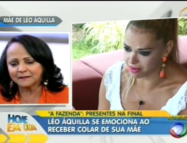 Léo Áquilla se emociona ao receber presente da mãe (29/8/12)