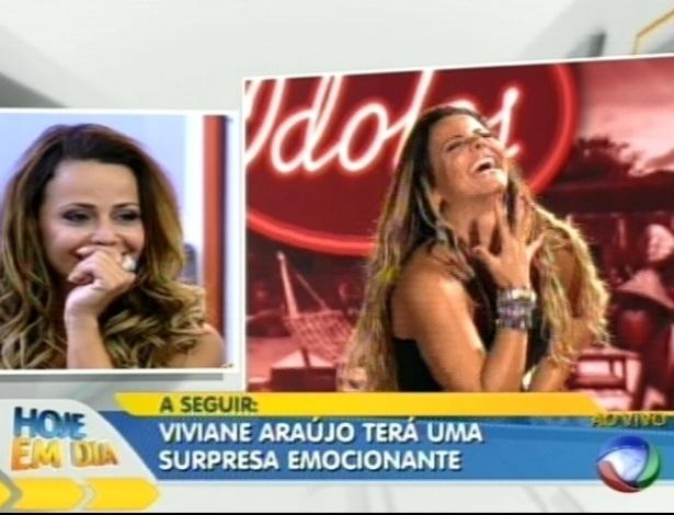 """Viviane Araújo assiste a imagens do reality show durante participação no programa """"Hoje em Dia"""" (30/8/12)"""