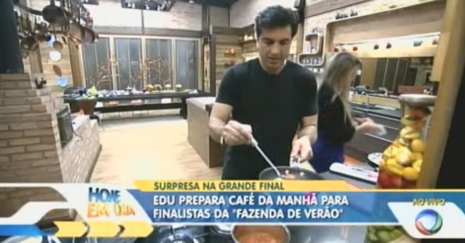 Edu Guedes faz visita surpresa para peões e prepara café da manhã dos finalistas