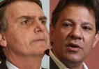 Bolsonaro lidera, mas diferença para Haddad cai, indicam Ibope e Datafolha - Montagem/UOL