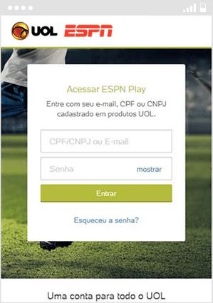Como acessar ESPN - Passo 3 - Mobile | UOL Esporte Clube