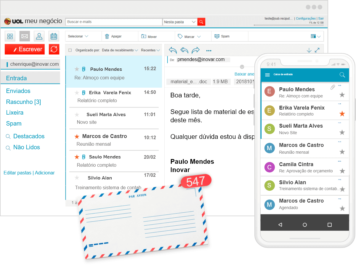 Tela do e-mail corporativo nos dispositivos desktop e mobile