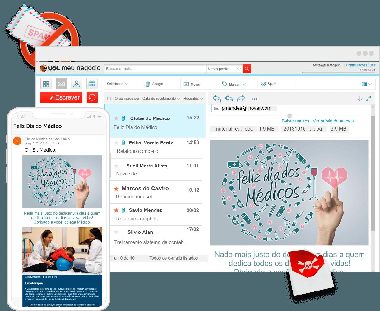 Exemplos de e-mail empresarial protegido pelo antivírus