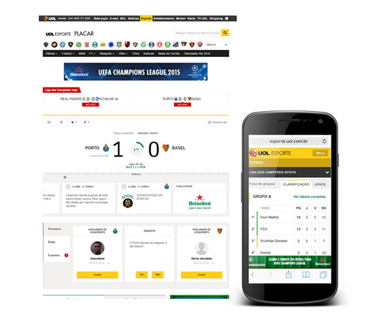 Placar UOL web e mobile