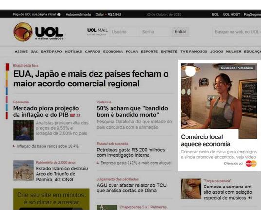 Diárias na homepage UOL na versão desktop em formato de chamadas editoriais