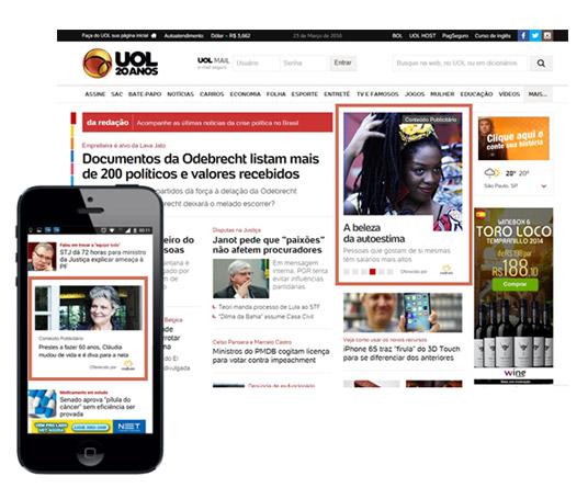 Divulgação de página de conteúdo em espaços editoriais da homepage UOL