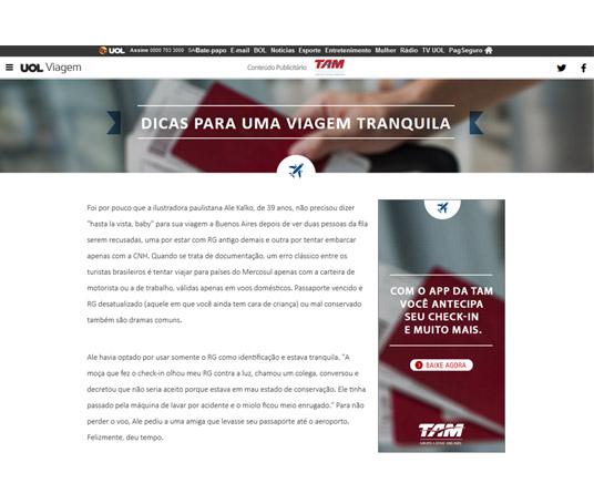 Página de conteúdo com envolvimento editoral e presença da