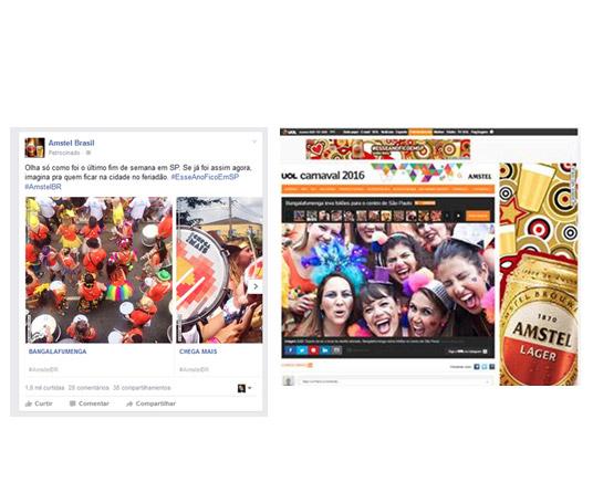 Cobertura editorial dos blocos de Carnaval Amstel e amplificação do conteúdo no facebook da marca