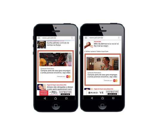Diárias na homepage UOL na versão mobile em formato de chamadas editoriais