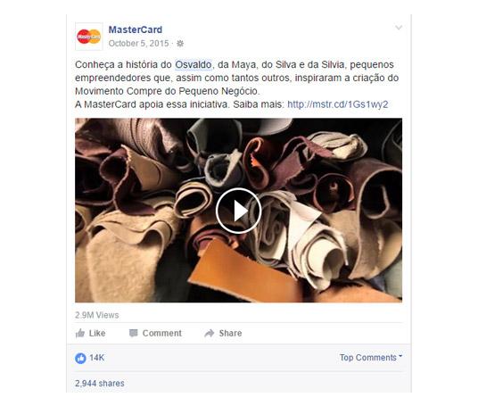 Materiais em texto, imagem e vídeo compartilhados nas redes sociais do cliente