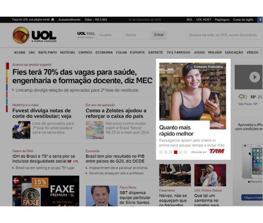 Diárias homepage UOL na versão desktop em formato Native Premium